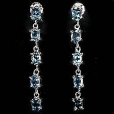 Sterling Silver 925 Genuine London Blue Topaz Tennis Design Dangle Earrings