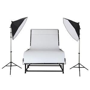 METTLE Studioset DAKOTA XXL-Aufnahmetisch 240x130cm Fototisch Set Beleuchtung