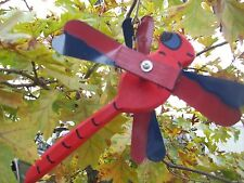 Red Dragonfly Mini Whirligigs Whirligig Windmill Yard Art Hand made from wood