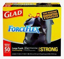 Glad ForceFlex 30 gal. Ultra Strong TRASH BAGS Drawstring Mega 50 Pack 78539 NEW