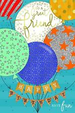 To A Great Friend Balloons And Stars Birthday Card - Kingfisher Cards