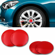 4Pcs Carbon Fiber Red Center  Wheel Hub Caps Emblem Stickers Fast Shopping