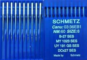 SCHMETZ DCX27B27SES L/BALL POINT NM:60/8 O/LOCK INDUSTRIAL SEWING MACHINE NEEDLE