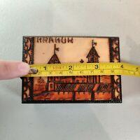 "Hand Carved and Burned 4"" Wood Trinket/Jewelry Box  ""KRAKOW,"" Poland"