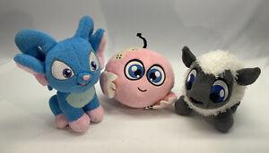 Lot of 3 Neopets - Babaa White Sheep, Blue Acara, Rare Pink Kiko