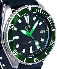 """Vintage SEIKO mens diver 7002 mod w/all Green DAGGER/""""Lollipop"""" SS hands & Bezel"""
