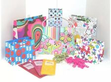 The Gift Wrap Company Assorted Bright Floral Gift Bag, Bow and Tissue Set
