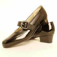 Equity Edith Buckle Bar Strap Court Black Patent Leather E Fitting RRP £64.99