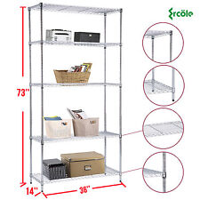 "73""x36""x14"" Heavy Duty 5 Tier Wire Steel Shelving Rack Chrome Shelf Adjustable"