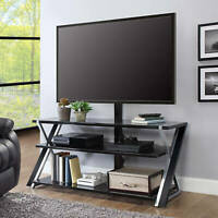 3-in-1 TV Stand for TVs up to 70' w/ 3 Display Options Flat Screens Black/Silver