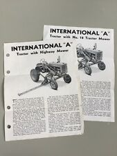 "2 Vintage International ""A"" Tractor w/ Highway Mower Brochures Spec Sheets 1940s"