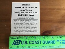 Smokey Robinson Sid Bernstein (Inscribed On Back)Carnegie Hall Promotional Card