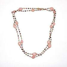 Tourmaline and Rose Chalcedony Necklace in .925 Sterling Silver Gold Tone
