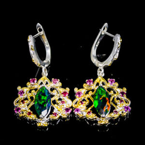 Top AAA+ Fire color Black Opal Earrings Silver 925 Sterling/E45440