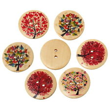 20PCs Wooden Buttons 2-hole Tree Sights Pattern Natural Sewing Scrapbook DIY
