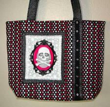 """NWT"" Hip Pink & Black Cameo Skull Steampunk Polka Dot Large Tote Bag Purse"