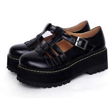 Roman Womens Mid Chunky Creepers Heel Platform Shoes Summer Strap Sandals Casual