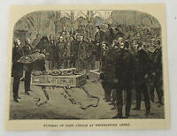 1887 magazine engraving ~ FUNERAL, LORD LYTTON, Westminster Abby