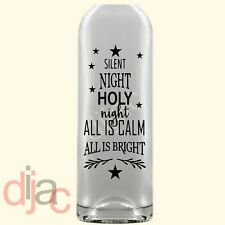 VINYL DECAL SILENT NIGHT for WINE BOTTLE, CANDLE 17.5 X 8 cm
