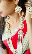 Indian Fashion Pearl Gold Plated Kundan Bollywood Bridal Jewelry Necklace Set