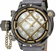 New Mens Invicta 17472 52mm Russian Diver Nautilus Swiss Automatic Leather Watch