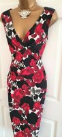 🎀 Phase Eight Red Rose Floral Party Summer Wedding Evening Occasion Dress 12