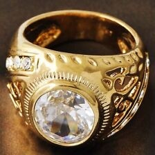 Vintage Womens Mens Gold Filled Round Clear Crystal Lucky Ring Size 7 Jewelry