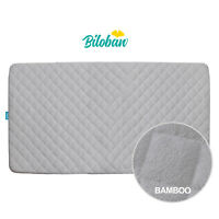 "Crib Mattress Pad Soft Bamboo Fleece Surface Cover Baby Waterproof 52""x 28"" Gray"