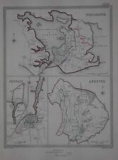 Original 1835 Borough Map PORTSMOUTH NEWPORT ANDOVER Hampshire England Gosport