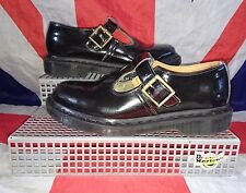 Polley*Black Patent T Bar Dr Doc Martens Mary Janes*Goth*Punk*Dolly*Kawaii*UK 4