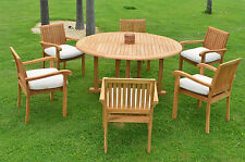 "7 PC OUTDOOR DINING TEAK PATIO POOL SET - 72"" ROUND TABLE, 6 STACKING ARM CHAIRS"