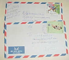 LAOS   2 COVERS WITH SOCCER STAMPS