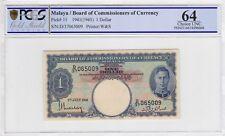 1941 One Dollar KIng George PCGS 64 UNC Malaya
