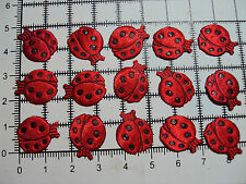 15pcs. Red Ladybirds -for Trimming,Appliques,Wedding - Satin