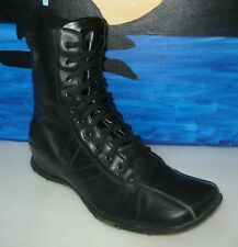 Glacee Black Faux Leather Flat Heel Boots Women SZ 9.5