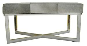 Grey Hair on Leather Stylish London Bench with Stainless Steel Cross Base