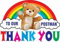 Rainbow Thank You Post Man Bear 20 cm size Window Sticker & Home Decal