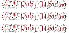 40TH RUBY WEDDING ANNIVERSARY WHITE AND RED FOIL BANNERS (SE)