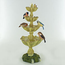 Garden Birds On Fountain Ornament Figurine Garden Gift Bowbrook H15cm 04092