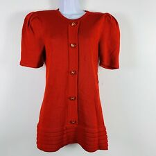 Vtg Raul Blanco Womens Sweater Sz 12 Red Button Front Short Sleeve Long New Bf15