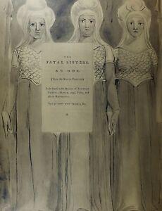 1922 Voll Größe William Blake Großer Druck Thomas Grays Gedicht Ode Fatal