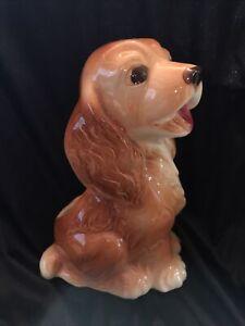 Vintage Royal Copley Ceramic Art Pottery Brown Cocker Spaniel Dog Planter