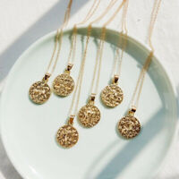 Vintage Round 12 Constellation Gold Stainless Necklace Charm Zodiac Pendant Gift