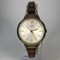 Fossil Womens ES3565 Brown Leather Band Silver Dial Quartz Analog Wristwatch