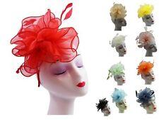 Ladies Feather Satin Net Hat Headband clip Fascinator Wedding Race Royal Ascot