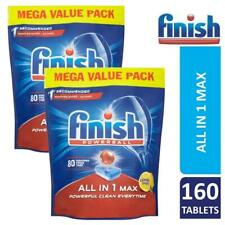 2 x Finish Powerball All In One Max 80 Dishwasher Tablets Lemon Sparkle 160 Tabs