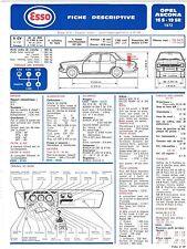 Fiche Descriptive Automobile pour Opel Ascona 16.S / 19.R- E.T.A.I - Fiche n° 67