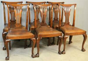 19782 Set of 6 Mahogany Ball and Claw Formal Dining Chairs