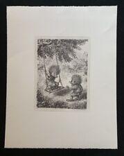 A. Paul Weber, Auf der Schaukel, Lithographie, 1980, aus dem Nachlass