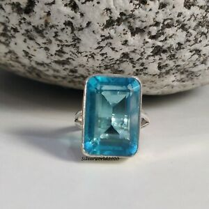 Blue Topaz Band Ring 925 Sterling Silver Plated Handmade Ring Size 7.25 at33